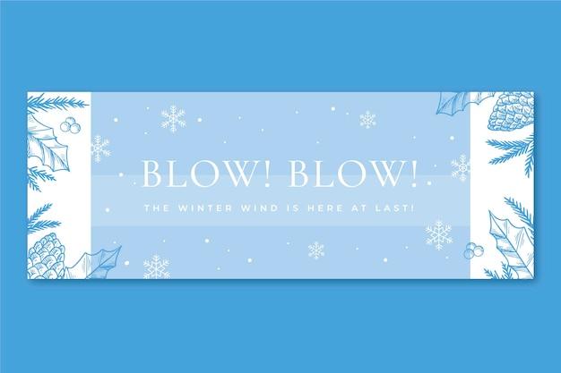 Couverture facebook d'hiver avec des flocons de neige
