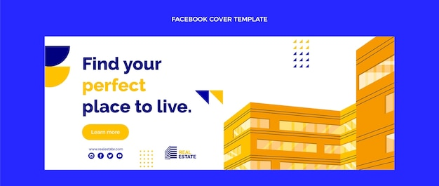 Couverture facebook de l'immobilier abstrait plat