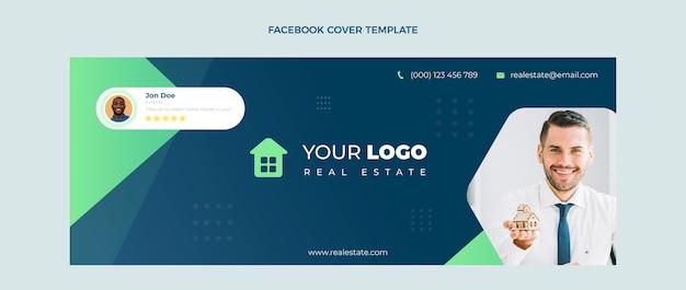 Couverture facebook immobilier géométrique abstrait design plat
