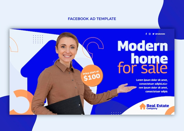 Couverture facebook de l'immobilier géométrique abstrait plat