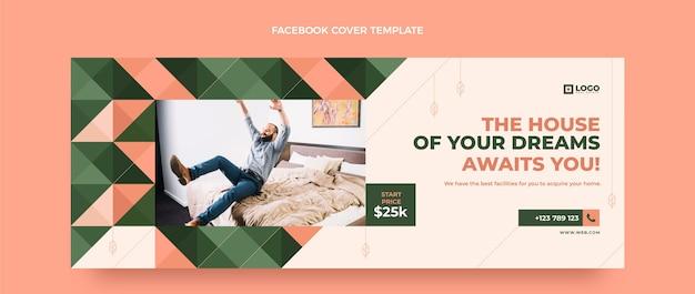 Couverture facebook immobilier géométrique design plat