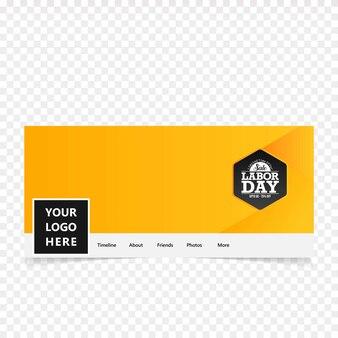 Couverture de facebook de jour de travail avec le vecteur de fond jaune