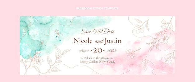 Couverture facebook de mariage aquarelle