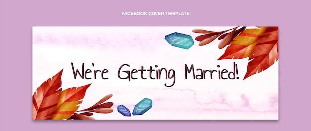 Couverture facebook de mariage boho aquarelle