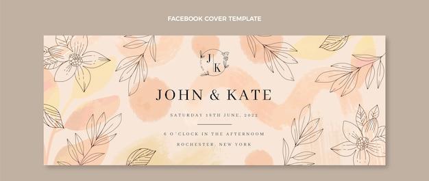 Couverture facebook de mariage dessiné à la main à l'aquarelle