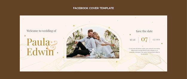 Couverture facebook de mariage doré de luxe réaliste