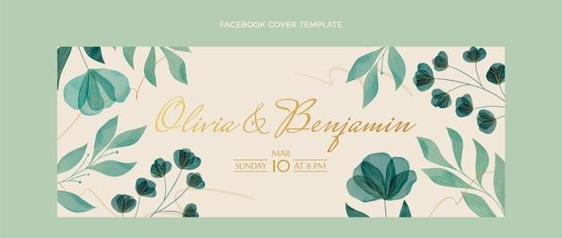 Couverture facebook de mariage floral aquarelle