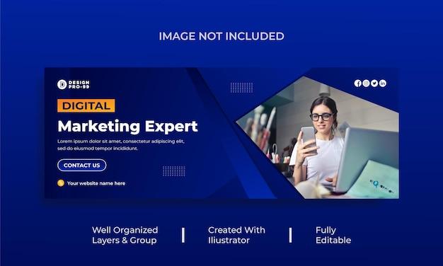 Couverture facebook de marketing numérique et modèle de bannière web premium