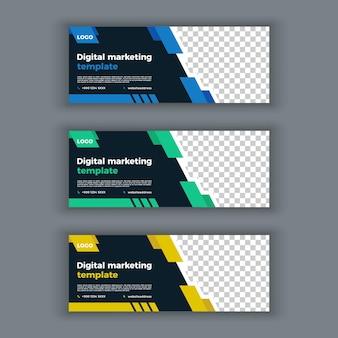 Couverture facebook de marketing numérique et modèle de bannière web