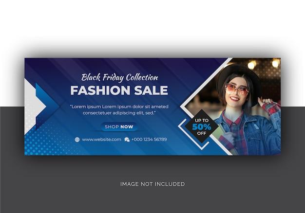 Couverture facebook des médias sociaux black friday fashion sale