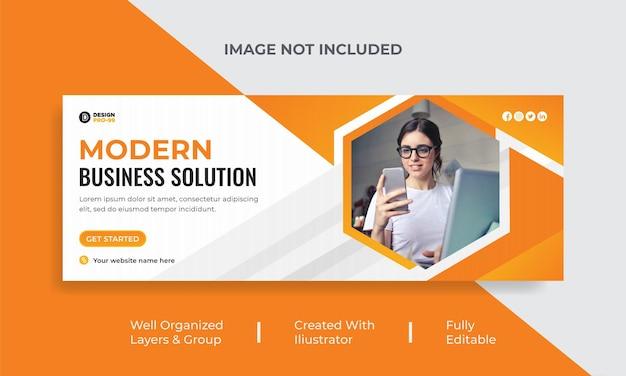Couverture facebook modern business solution et modèle de bannière web premium
