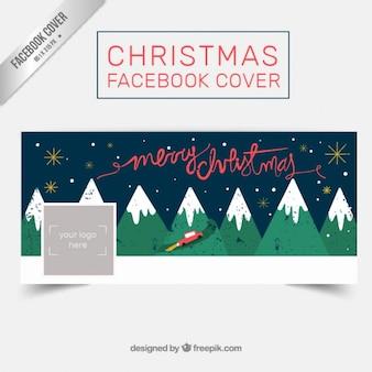 Couverture facebook noël montagnes rétro