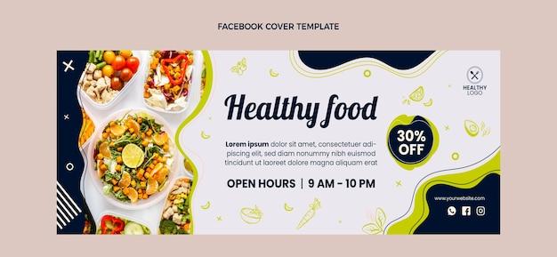 Couverture facebook de nourriture saine design plat