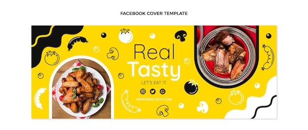 Couverture facebook de nourriture savoureuse au design plat