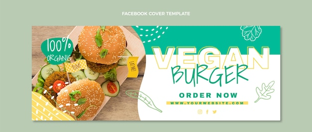 Couverture facebook de nourriture végétalienne au design plat