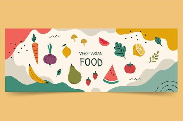 Couverture facebook de nourriture végétarienne design plat dessiné à la main
