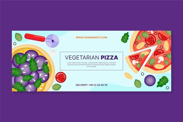 Couverture facebook de pizza végétarienne dessinée à la main