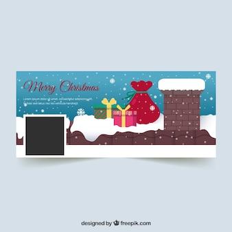 Couverture facebook à plat avec des cadeaux