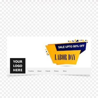 Couverture de facebook pour le jour du travail heureux avec vecteur de fond bleu et jaune