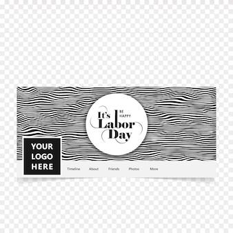 Couverture de facebook pour le jour du travail heureux avec vecteur de fond gris