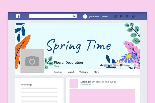 Couverture facebook printanière colorée florale