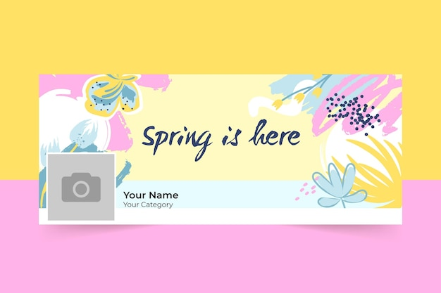 Couverture facebook de printemps coloré abstrait peint