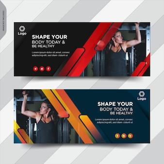 Couverture facebook de remise en forme conception de bannière de publication de médias sociaux