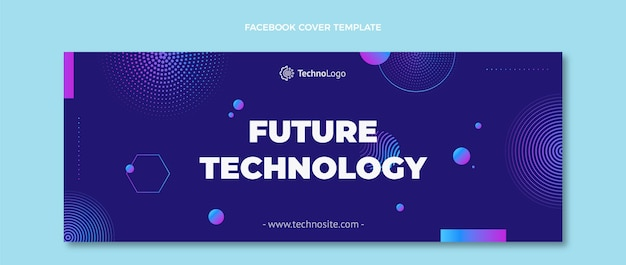 Couverture facebook de la technologie des demi-teintes dégradées