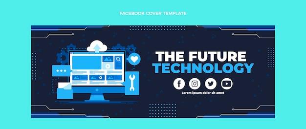 Couverture facebook de technologie minimaliste design plat