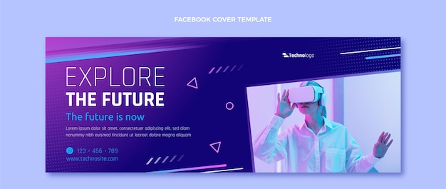 Couverture facebook de la technologie de texture dégradée