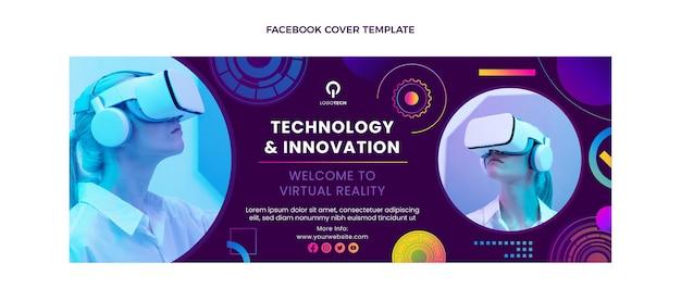 Couverture Facebook De La Technologie De Texture Dégradée Vecteur gratuit