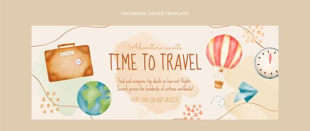 Couverture facebook de voyage aquarelle