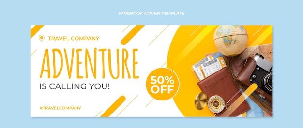 Couverture facebook de voyage design plat