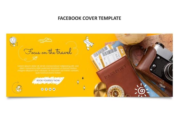 Couverture facebook de voyage dessinée à la main