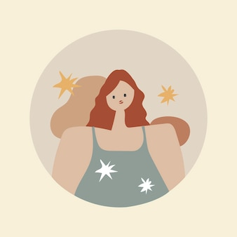 Couverture féminine en surbrillance instagram, illustration esthétique d'autocollant de personnage de femme dans le vecteur de conception de ton terre