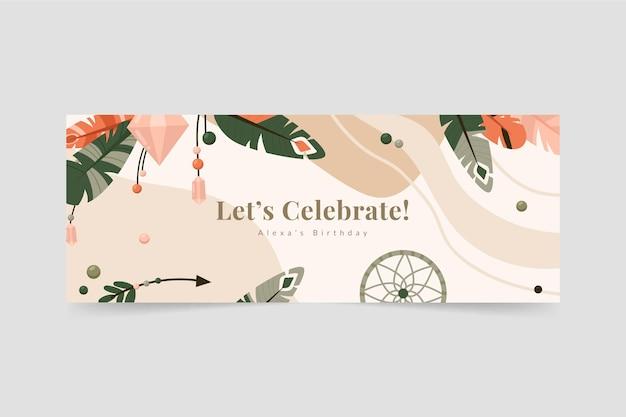 Couverture de fête d'anniversaire boho