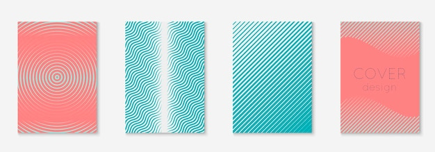 Couverture de formes abstraites. rose et turquoise. cahier de matériel, papier peint, certificat, mise en page de l'application web. couverture de formes abstraites et modèle avec éléments géométriques de ligne.