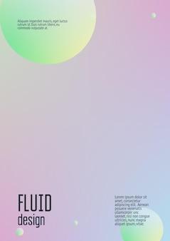 Couverture holographique avec fluide radial. forme géométrique sur fond dégradé. modèle de hipster moderne pour pancarte, présentation, bannière, dépliant, rapport, brochure. couverture holographique minimale, couleurs néon.