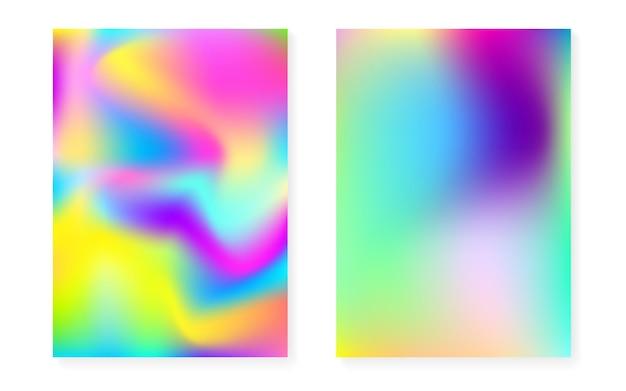 Couverture holographique sertie de fond dégradé hologramme. style rétro des années 90 et 80. modèle graphique nacré pour pancarte, présentation, bannière, brochure. couverture holographique minimale lumineuse.