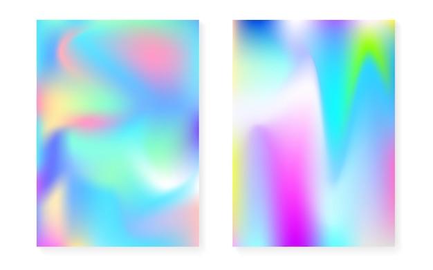 Couverture holographique sertie de fond dégradé hologramme. style rétro des années 90 et 80. modèle graphique nacré pour pancarte, présentation, bannière, brochure. couverture holographique minimale tendance.