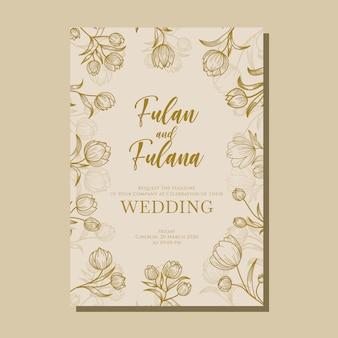Couverture d'invitation de mariage sertie de style floral dessiné à la main de fleur de tulipe floral beauté