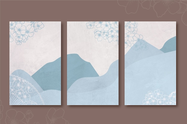 Couverture japonaise minimaliste blue hills and mountains
