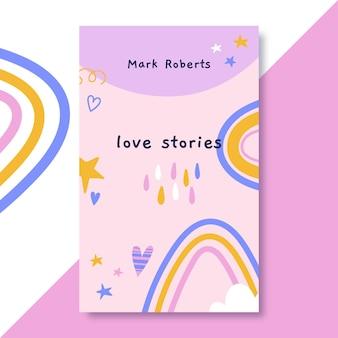 Couverture de livre d'amour coloré dessiné à la main