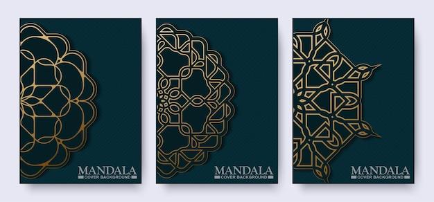 Couverture de livre mandala foncé en or