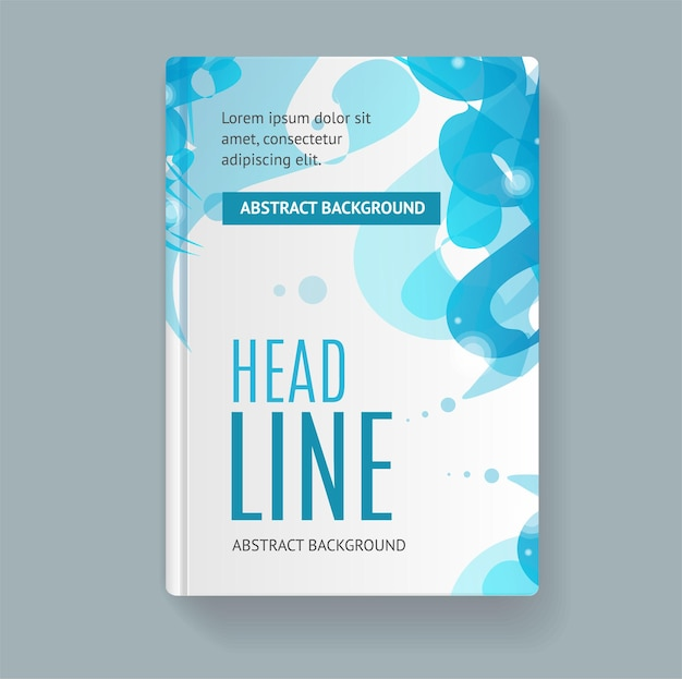 Couverture de livre modèle abstrait géométrique bleu tourbillon.