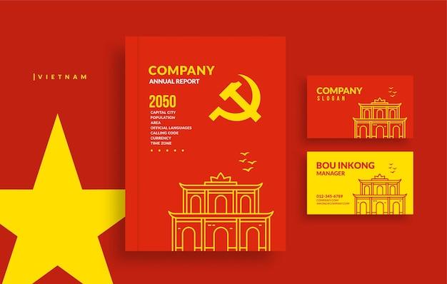 Couverture de livre de rapport annuel du vietnam et conception de cartes de visite