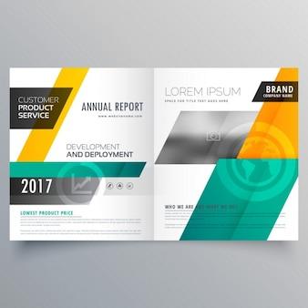 Couverture de magazine bifold conception brochure modèle moderne jaune et bleu