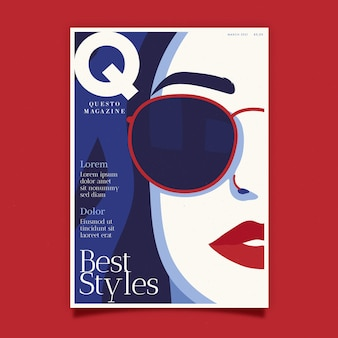 Couverture de magazine détaillée avec les meilleurs styles