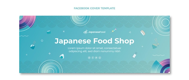 Couverture de médias sociaux de cuisine japonaise dessinée à la main