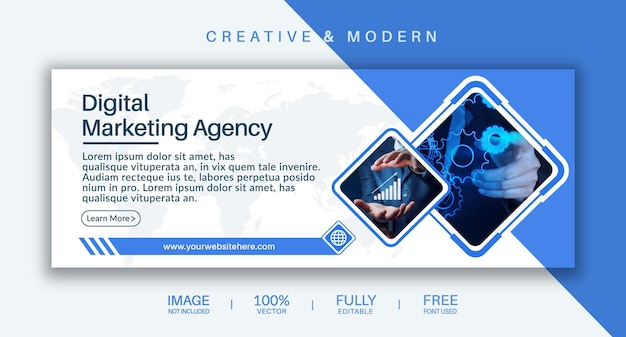 Couverture des médias sociaux et modèle vectoriel de bannière web